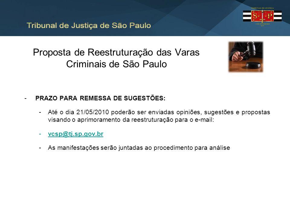 Proposta de Reestruturação das Varas Criminais de São Paulo -PRAZO PARA REMESSA DE SUGESTÕES: -Até o dia 21/05/2010 poderão ser enviadas opiniões, sug