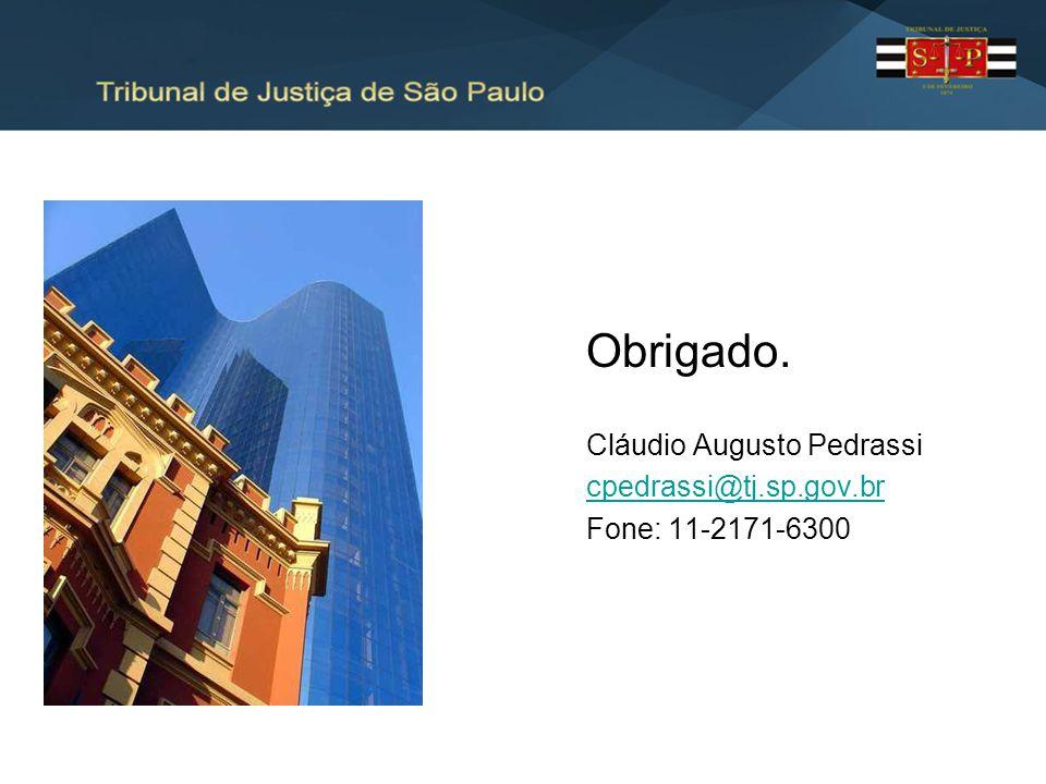Obrigado. Cláudio Augusto Pedrassi cpedrassi@tj.sp.gov.br Fone: 11-2171-6300
