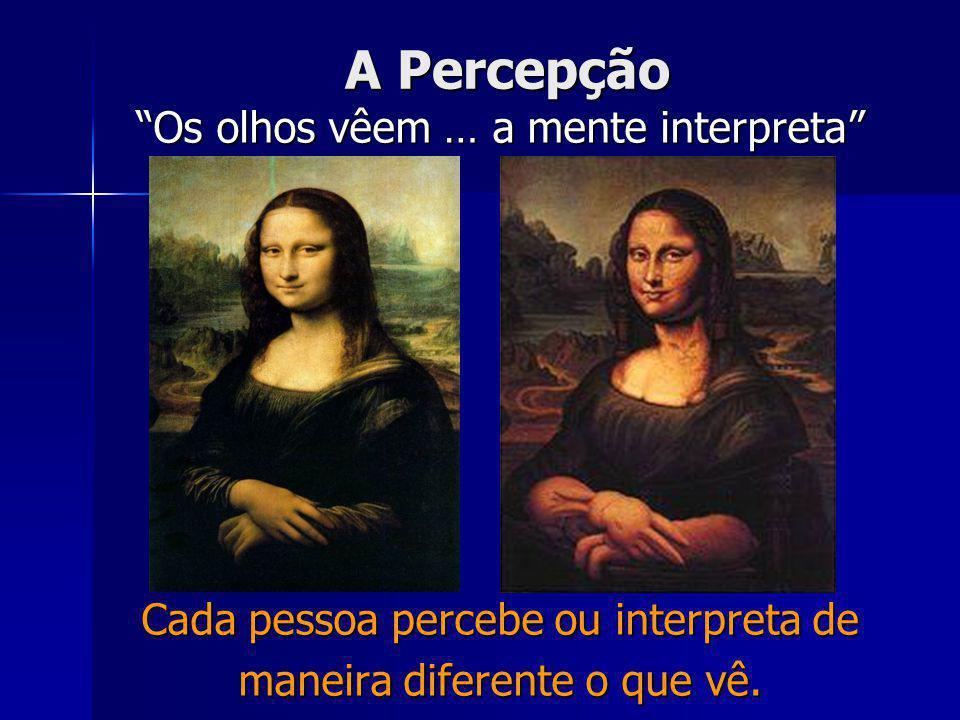 A Percepção Os olhos vêem … a mente interpreta Cada pessoa percebe ou interpreta de maneira diferente o que vê.