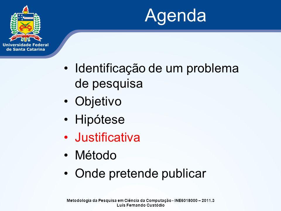 Identificação de um problema de pesquisa Objetivo Hipótese Justificativa Método Onde pretende publicar Agenda Metodologia da Pesquisa em Ciência da Co