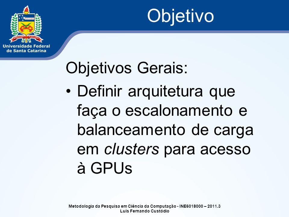 Objetivos Gerais: Definir arquitetura que faça o escalonamento e balanceamento de carga em clusters para acesso à GPUs Objetivo Metodologia da Pesquis