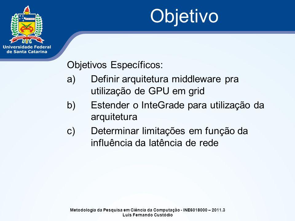 Objetivos Específicos: a)Definir arquitetura middleware pra utilização de GPU em grid b)Estender o InteGrade para utilização da arquitetura c)Determin