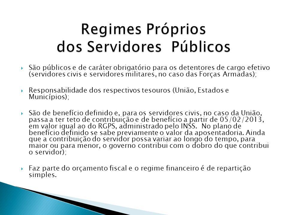 São públicos e de caráter obrigatório para os detentores de cargo efetivo (servidores civis e servidores militares, no caso das Forças Armadas); Respo
