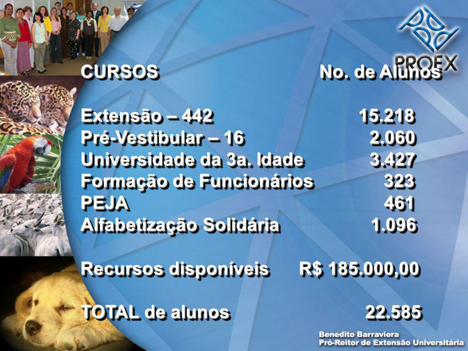 CURSOS No. de Alunos Extensão – 442 15.218 Pré-Vestibular – 16 2.060 Universidade da 3a.