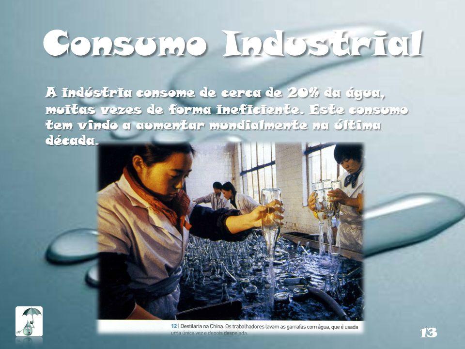 Consumo Industrial A indústria consome de cerca de 20% da água, muitas vezes de forma ineficiente. Este consumo tem vindo a aumentar mundialmente na ú
