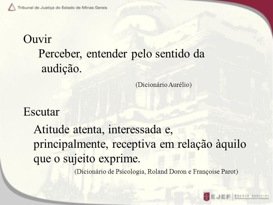 Ouvir Perceber, entender pelo sentido da audição.