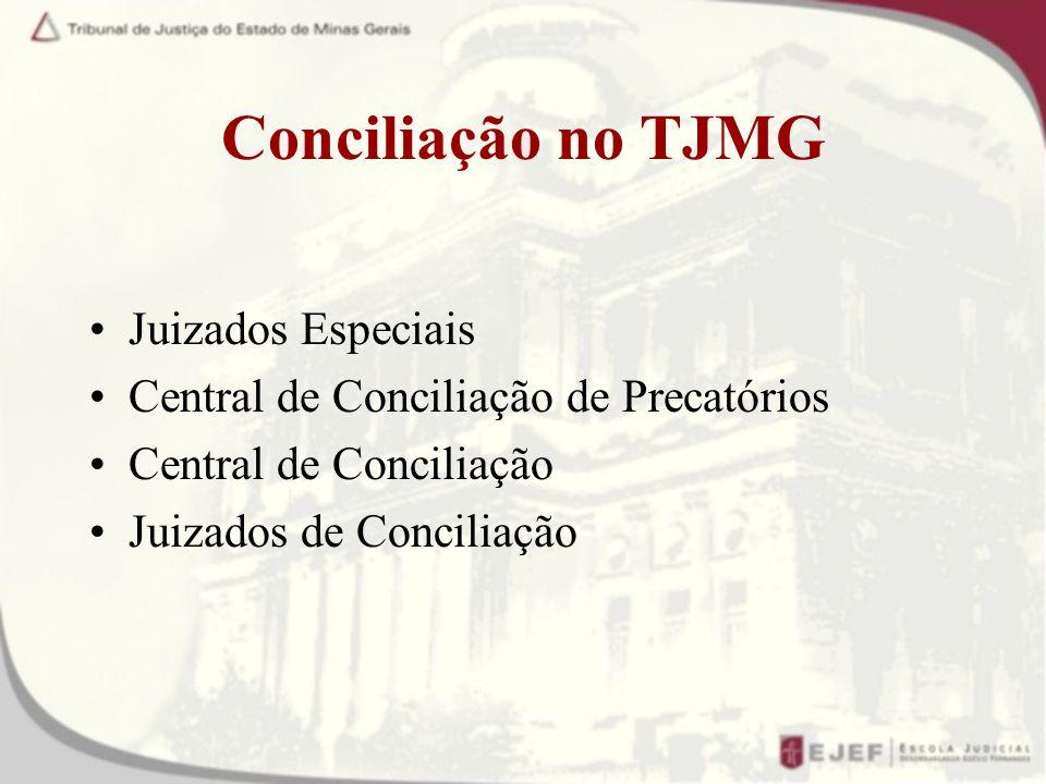Conciliação no TJMG Juizados Especiais Central de Conciliação de Precatórios Central de Conciliação Juizados de Conciliação