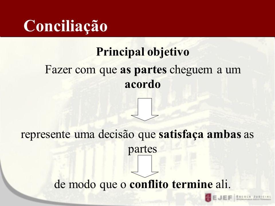 Conciliação Principal objetivo Fazer com que as partes cheguem a um acordo represente uma decisão que satisfaça ambas as partes de modo que o conflito termine ali.