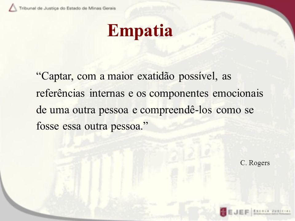 Empatia Captar, com a maior exatidão possível, as referências internas e os componentes emocionais de uma outra pessoa e compreendê-los como se fosse essa outra pessoa.
