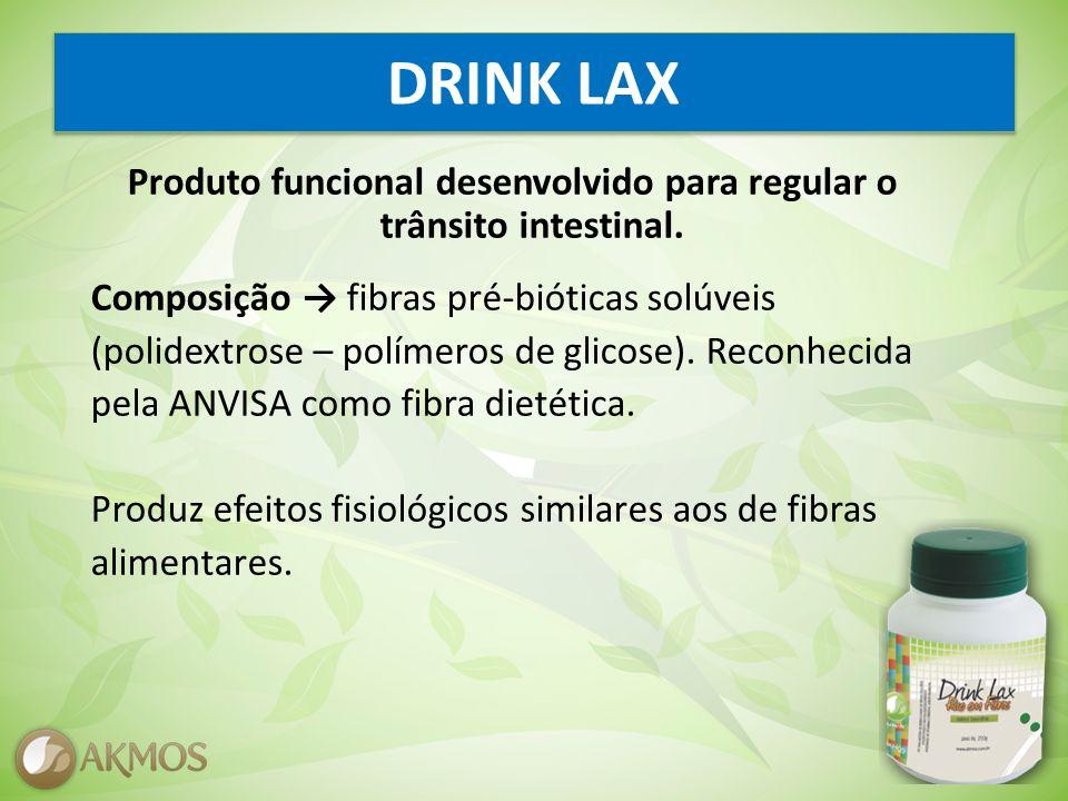 DRINK LAX Produto funcional desenvolvido para regular o trânsito intestinal.