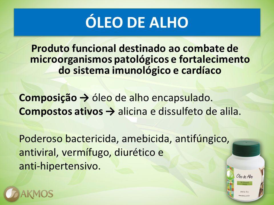 ÓLEO DE ALHO Produto funcional destinado ao combate de microorganismos patológicos e fortalecimento do sistema imunológico e cardíaco Composição óleo de alho encapsulado.