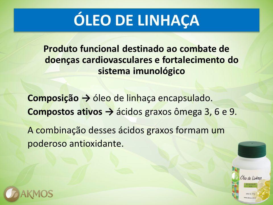 ÓLEO DE LINHAÇA Produto funcional destinado ao combate de doenças cardiovasculares e fortalecimento do sistema imunológico Composição óleo de linhaça encapsulado.