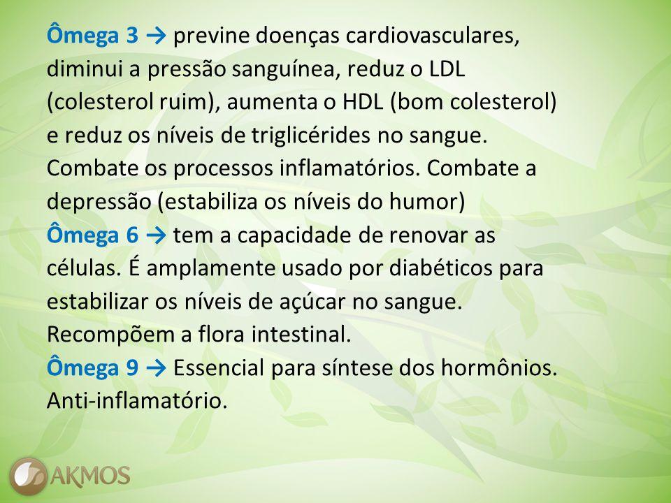 Ômega 3 previne doenças cardiovasculares, diminui a pressão sanguínea, reduz o LDL (colesterol ruim), aumenta o HDL (bom colesterol) e reduz os níveis de triglicérides no sangue.