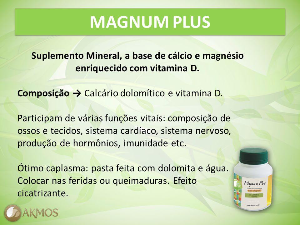 MAGNUM PLUS Suplemento Mineral, a base de cálcio e magnésio enriquecido com vitamina D.