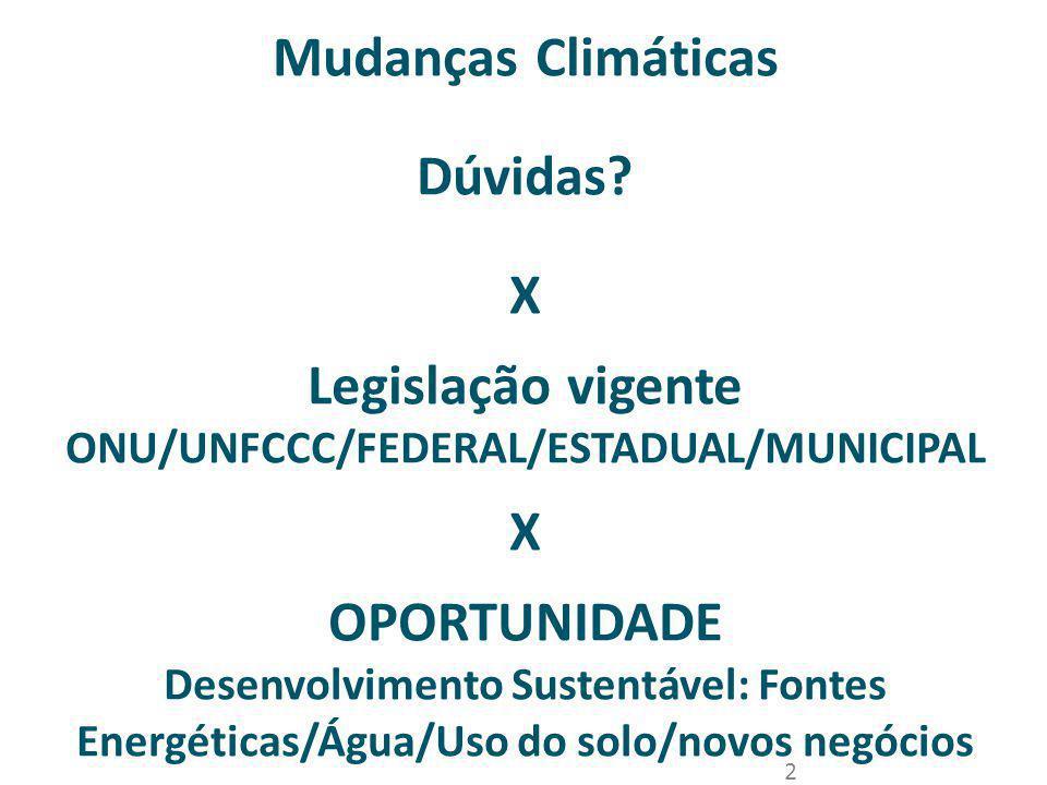 2 Mudanças Climáticas Dúvidas? X Legislação vigente ONU/UNFCCC/FEDERAL/ESTADUAL/MUNICIPAL X OPORTUNIDADE Desenvolvimento Sustentável: Fontes Energétic