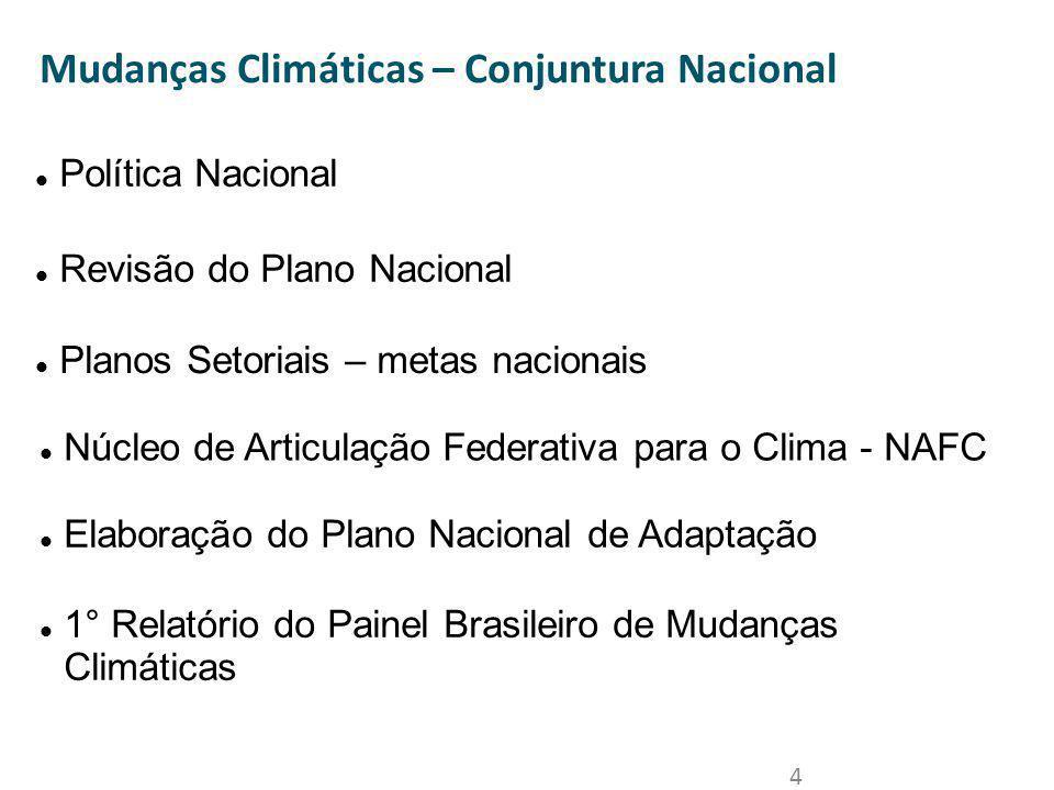 4 Mudanças Climáticas – Conjuntura Nacional Política Nacional Revisão do Plano Nacional Planos Setoriais – metas nacionais Núcleo de Articulação Feder