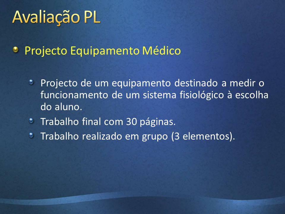 Projecto Equipamento Médico Projecto de um equipamento destinado a medir o funcionamento de um sistema fisiológico à escolha do aluno. Trabalho final