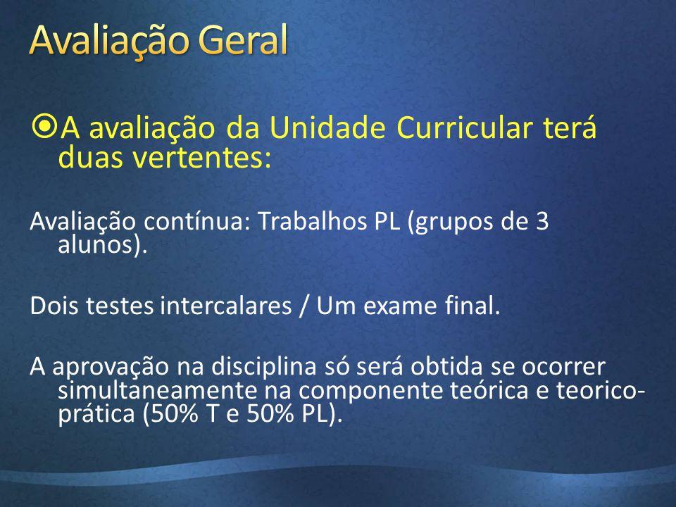 A avaliação da Unidade Curricular terá duas vertentes: Avaliação contínua: Trabalhos PL (grupos de 3 alunos). Dois testes intercalares / Um exame fina