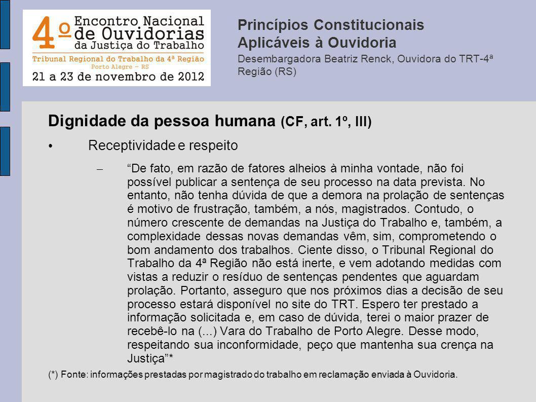 Dignidade da pessoa humana (CF, art. 1º, III) Receptividade e respeito – De fato, em razão de fatores alheios à minha vontade, não foi possível public