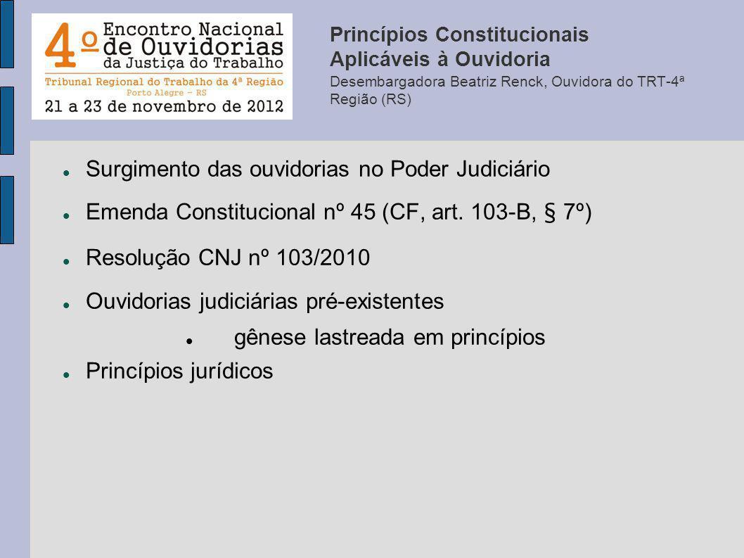 Princípios Constitucionais Aplicáveis à Ouvidoria Desembargadora Beatriz Renck, Ouvidora do TRT-4ª Região (RS) Surgimento das ouvidorias no Poder Judi