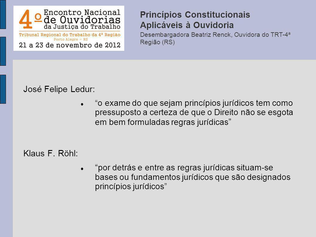 José Felipe Ledur: o exame do que sejam princípios jurídicos tem como pressuposto a certeza de que o Direito não se esgota em bem formuladas regras ju