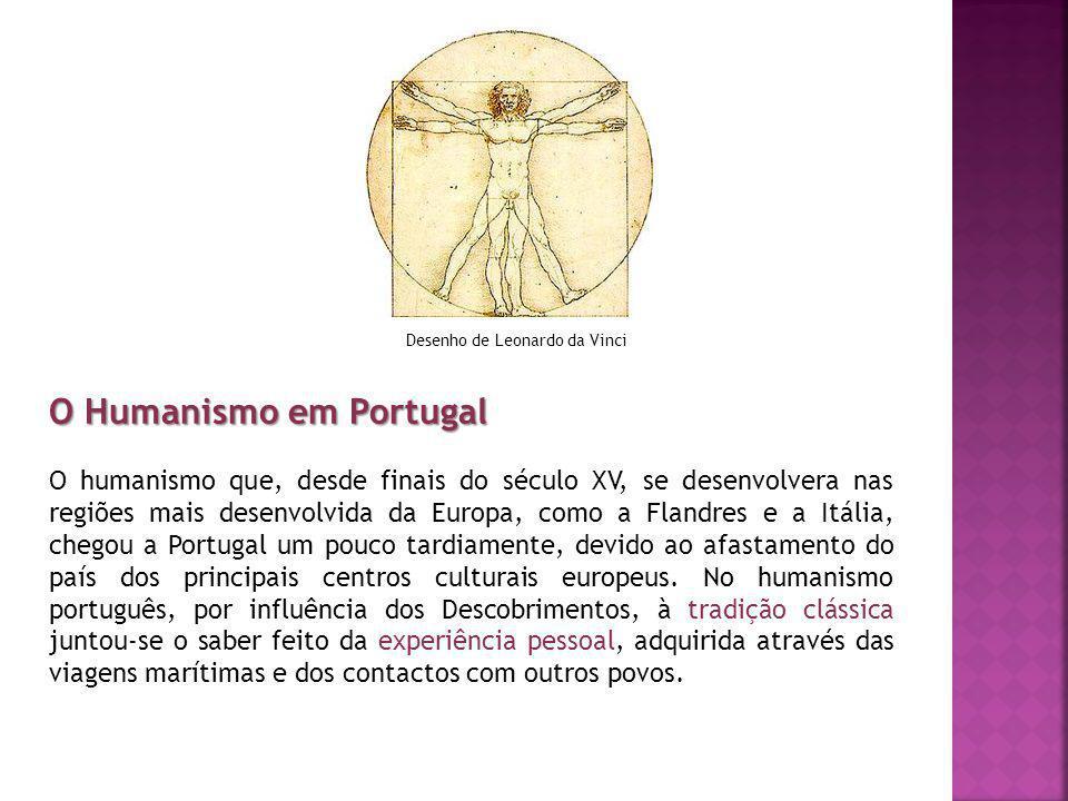 O Humanismo em Portugal O humanismo que, desde finais do século XV, se desenvolvera nas regiões mais desenvolvida da Europa, como a Flandres e a Itáli