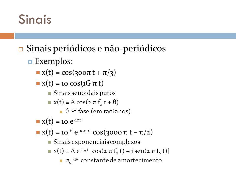 Sinais Sinais periódicos e não-periódicos Exemplos: x(t) = cos(300π t + π/3) x(t) = 10 cos(1G π t) Sinais senoidais puros x(t) = A cos(2 π f 0 t + θ)