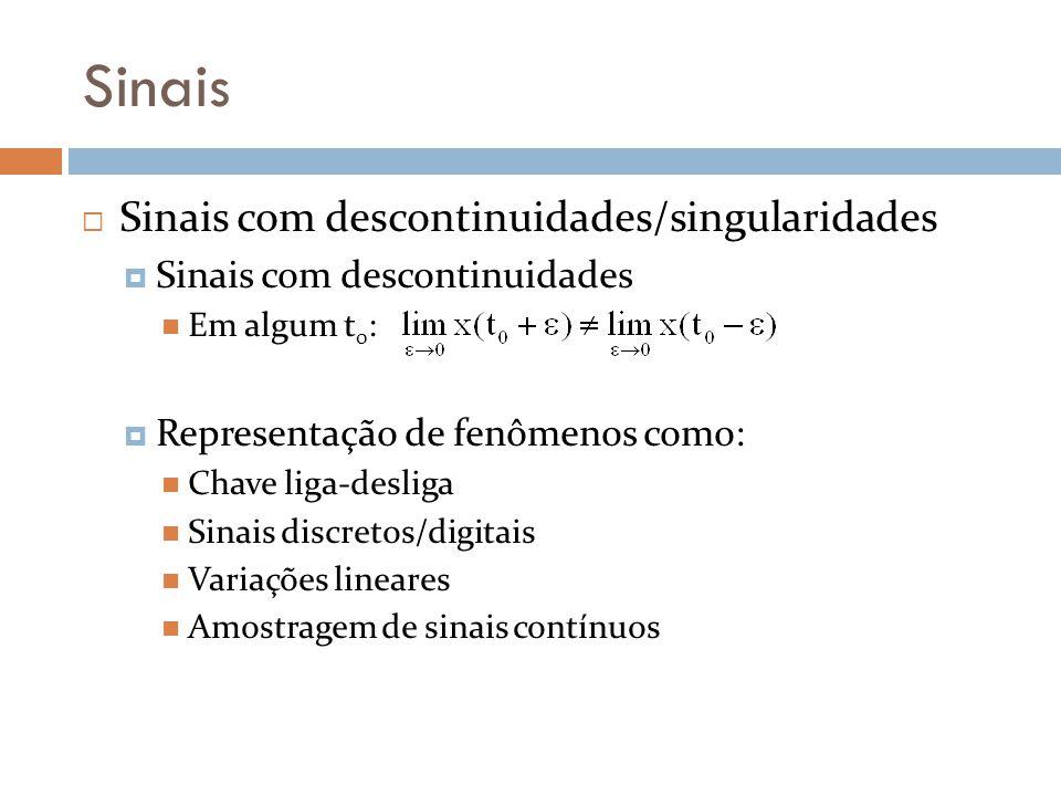 Sinais Sinais com descontinuidades/singularidades Sinais com descontinuidades Em algum t 0 : Representação de fenômenos como: Chave liga-desliga Sinai