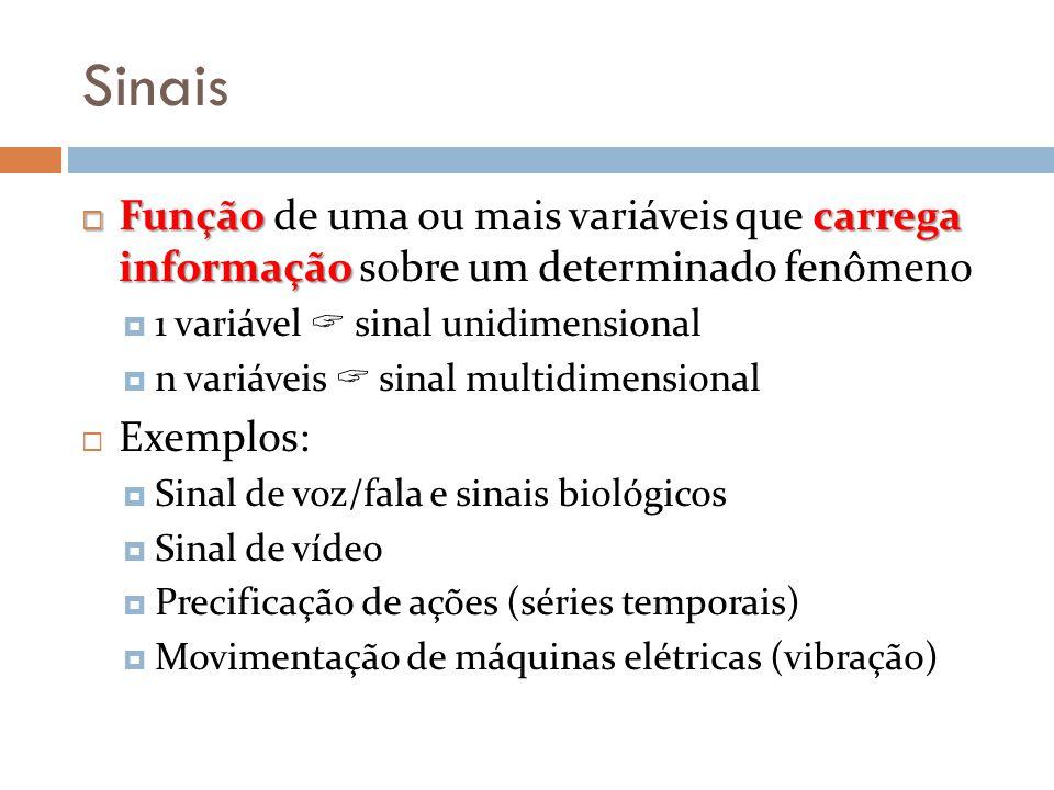 Sinais Função carrega informação Função de uma ou mais variáveis que carrega informação sobre um determinado fenômeno 1 variável sinal unidimensional