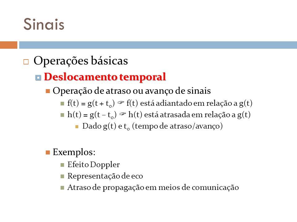 Sinais Operações básicas Deslocamento temporal Deslocamento temporal Operação de atraso ou avanço de sinais f(t) = g(t + t 0 ) f(t) está adiantado em