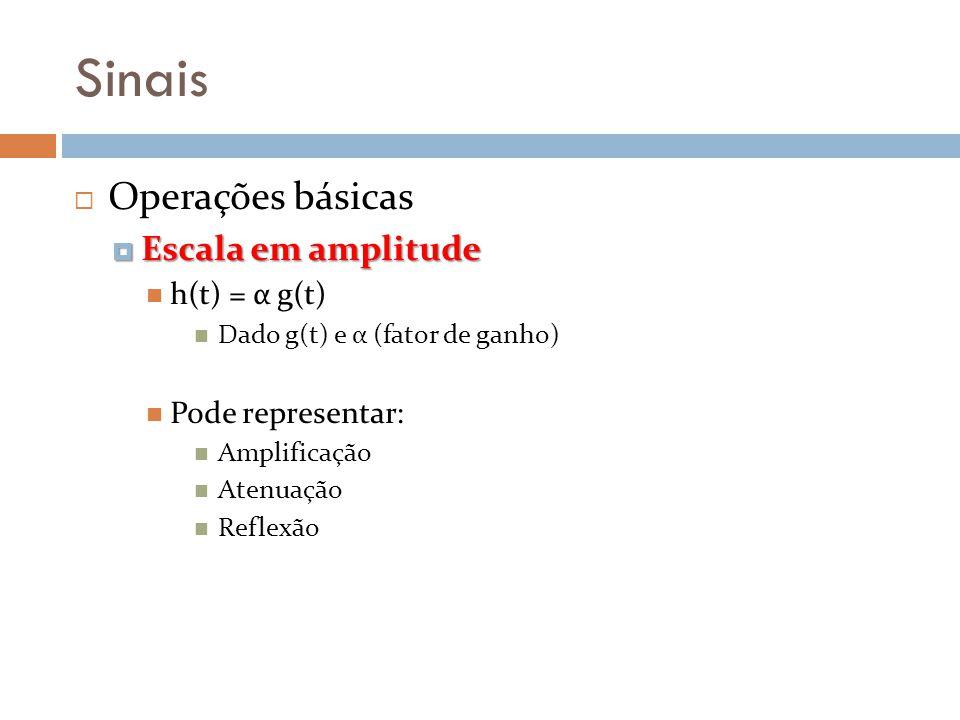 Sinais Operações básicas Escala em amplitude Escala em amplitude h(t) = α g(t) Dado g(t) e α (fator de ganho) Pode representar: Amplificação Atenuação