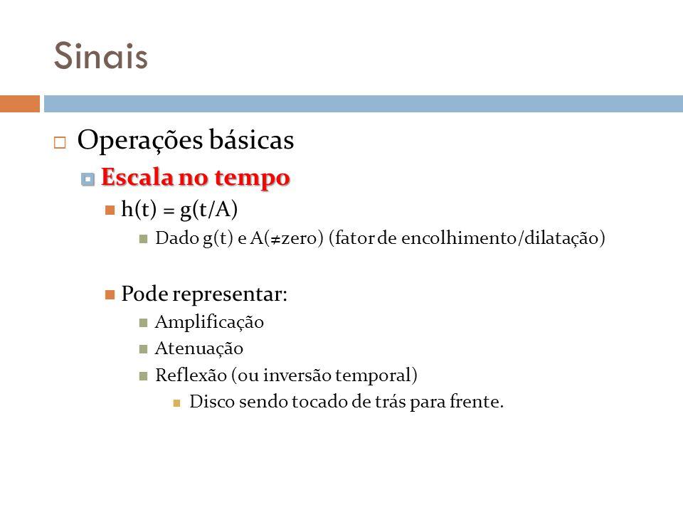 Sinais Operações básicas Escala no tempo Escala no tempo h(t) = g(t/A) Dado g(t) e A(zero) (fator de encolhimento/dilatação) Pode representar: Amplifi