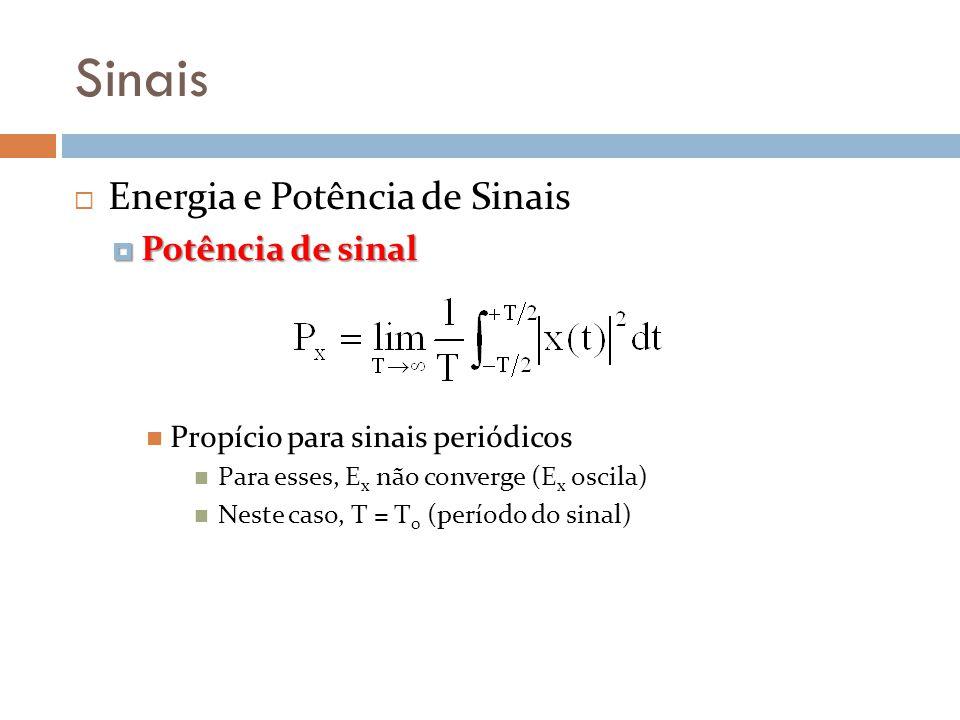 Sinais Energia e Potência de Sinais Potência de sinal Potência de sinal Propício para sinais periódicos Para esses, E x não converge (E x oscila) Nest
