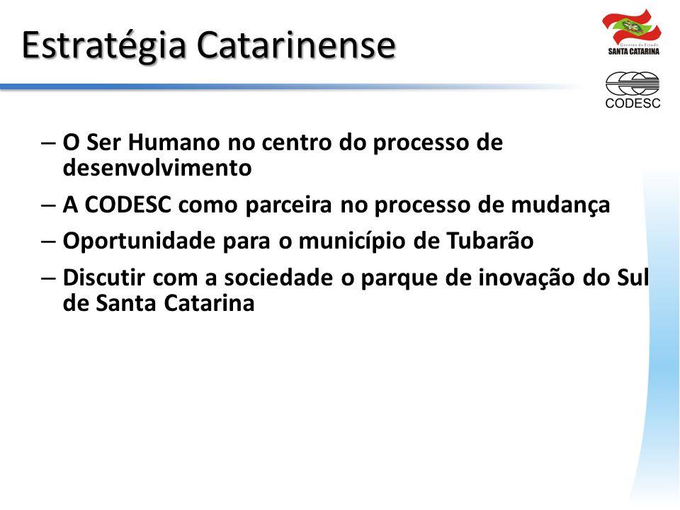 Estratégia Catarinense – O Ser Humano no centro do processo de desenvolvimento – A CODESC como parceira no processo de mudança – Oportunidade para o município de Tubarão – Discutir com a sociedade o parque de inovação do Sul de Santa Catarina