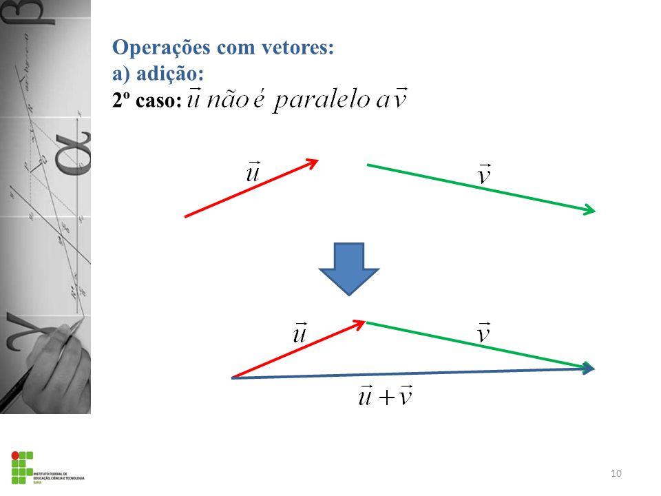 Operações com vetores: a) adição: 2º caso: 10