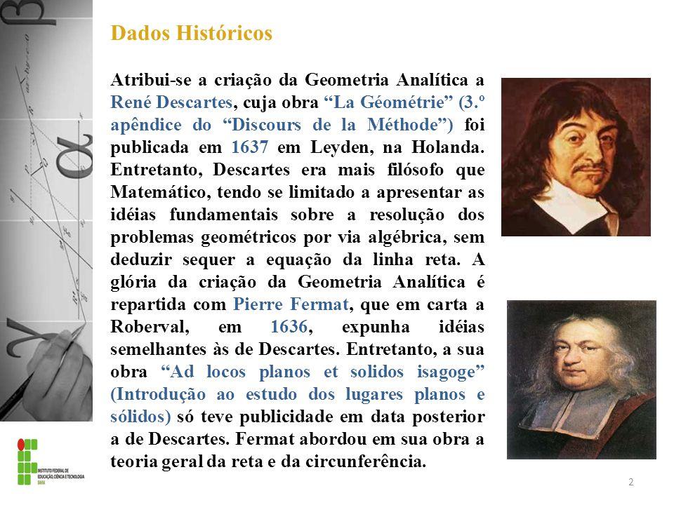Dados Históricos Atribui-se a criação da Geometria Analítica a René Descartes, cuja obra La Géométrie (3.º apêndice do Discours de la Méthode) foi pub