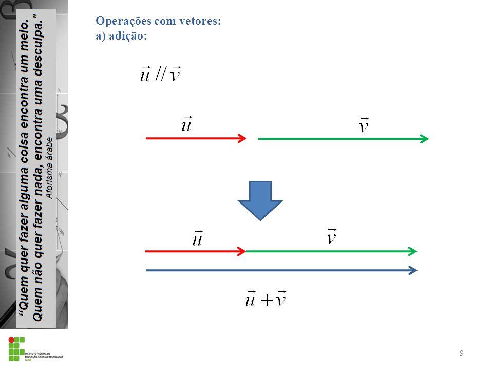 9 Operações com vetores: a) adição: