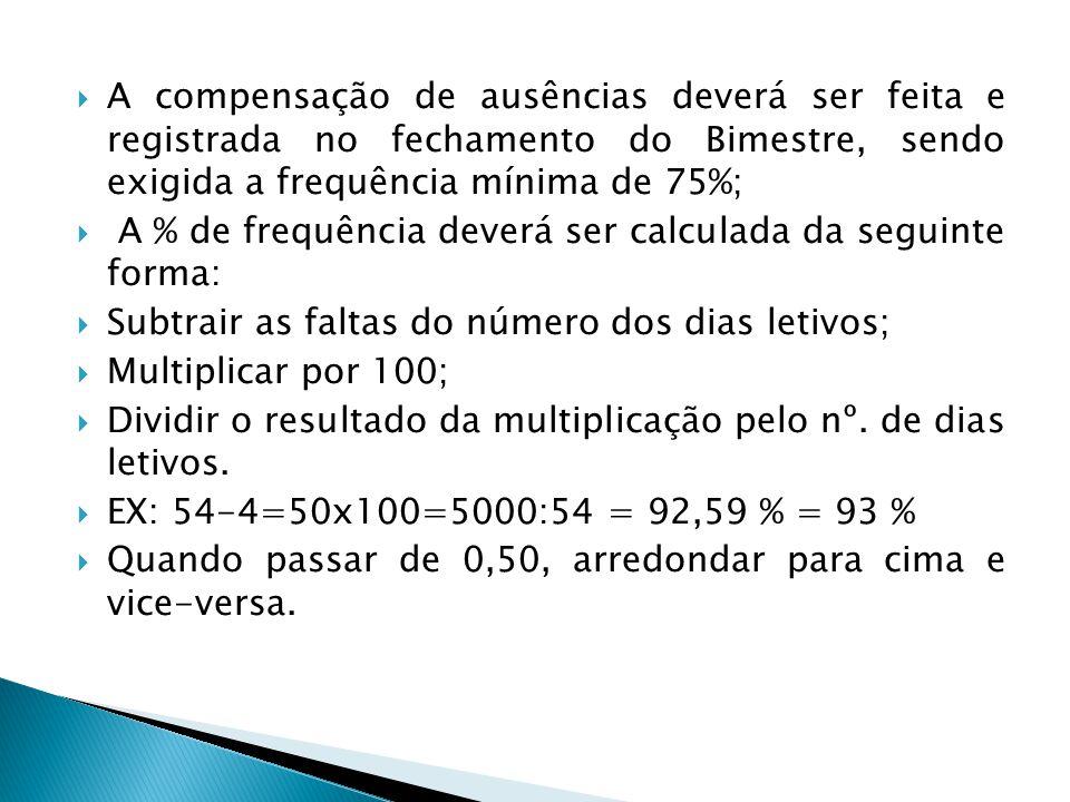 A compensação de ausências deverá ser feita e registrada no fechamento do Bimestre, sendo exigida a frequência mínima de 75%; A % de frequência deverá