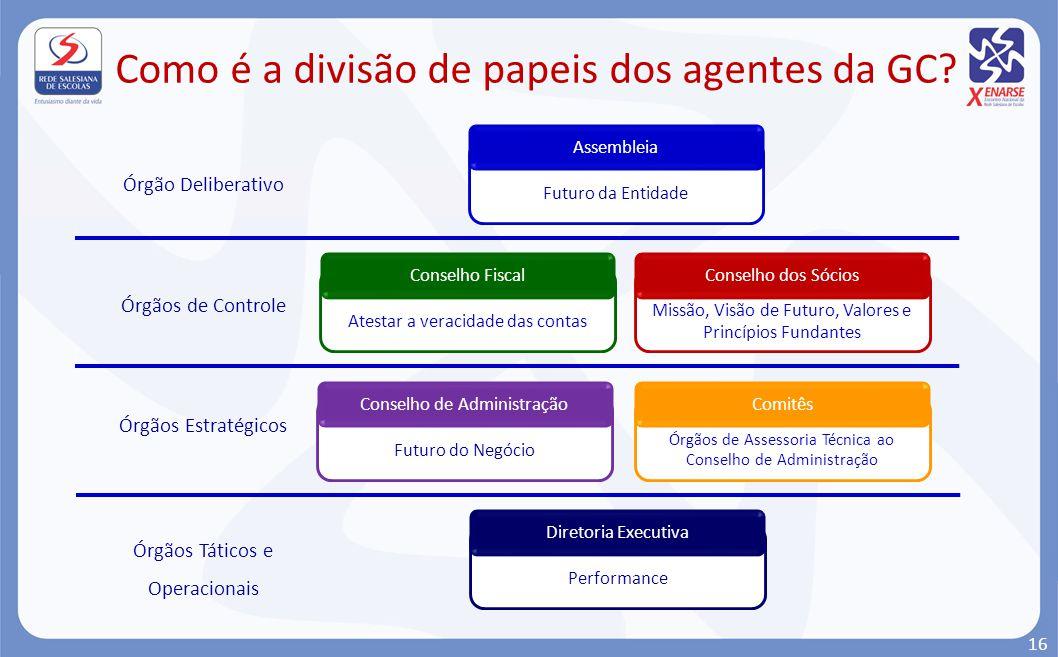 Como é a divisão de papeis dos agentes da GC? Futuro da Entidade Assembleia Missão, Visão de Futuro, Valores e Princípios Fundantes Conselho dos Sócio