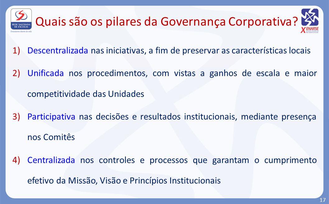 1)Descentralizada nas iniciativas, a fim de preservar as características locais 2)Unificada nos procedimentos, com vistas a ganhos de escala e maior c