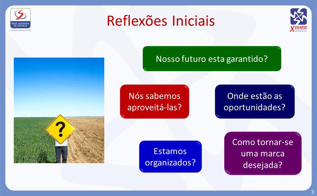 Reflexões Iniciais Nosso futuro esta garantido? Onde estão as oportunidades? Nós sabemos aproveitá-las? Estamos organizados? Como tornar-se uma marca