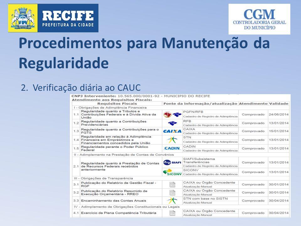 Procedimentos para Manutenção da Regularidade 2. Verificação diária ao CAUC