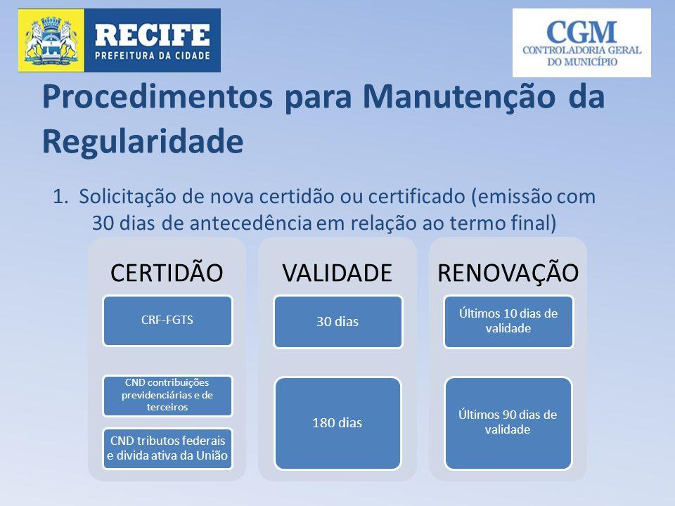 Procedimentos para Manutenção da Regularidade 1. Solicitação de nova certidão ou certificado (emissão com 30 dias de antecedência em relação ao termo