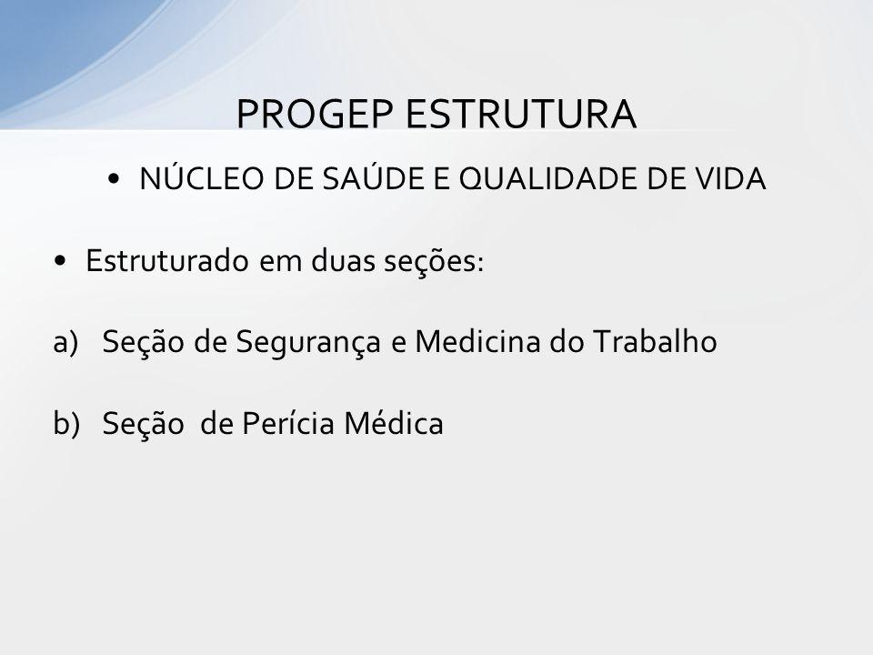 NÚCLEO DE SAÚDE E QUALIDADE DE VIDA Linhas de Ação: 1 – Promoção à Saúde do Servidor; 2 – Vigilância em Saúde PROGEP ESTRUTURA