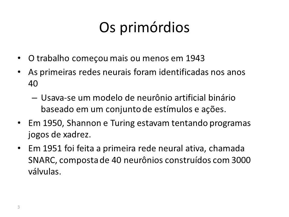 Os primórdios O trabalho começou mais ou menos em 1943 As primeiras redes neurais foram identificadas nos anos 40 – Usava-se um modelo de neurônio art