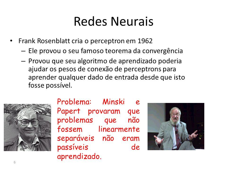 Redes Neurais Frank Rosenblatt cria o perceptron em 1962 – Ele provou o seu famoso teorema da convergência – Provou que seu algoritmo de aprendizado p