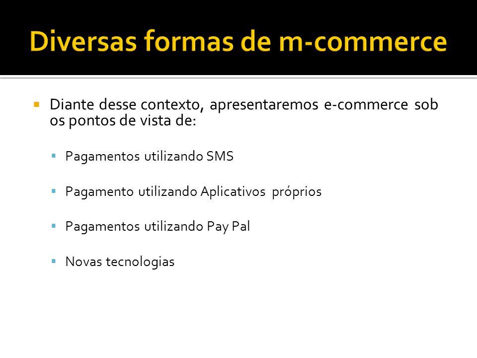 Diante desse contexto, apresentaremos e-commerce sob os pontos de vista de: Pagamentos utilizando SMS Pagamento utilizando Aplicativos próprios Pagamentos utilizando Pay Pal Novas tecnologias