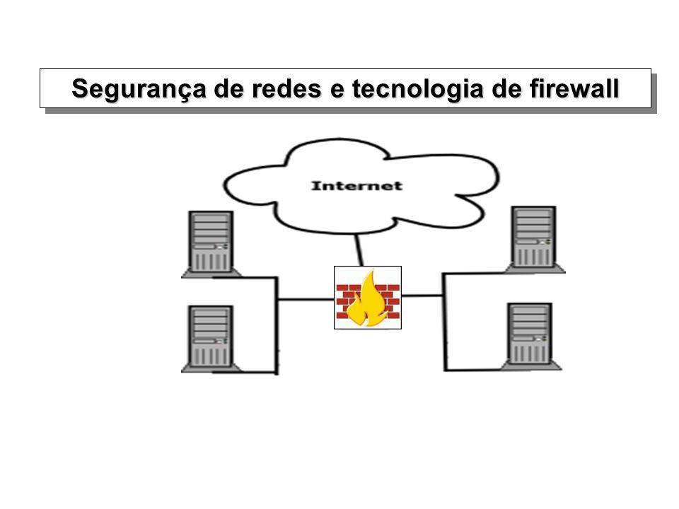 Objetos tratados pelo Firewall Pode tratar protocolos do nível de transporte (portas)Pode tratar protocolos do nível de transporte (portas) –TCP –UDP Pode tratar protocolos auxiliaresPode tratar protocolos auxiliares –ICMP –ARP Pode tratar protocolos do nível de aplicaçãoPode tratar protocolos do nível de aplicação –HTTP –SMTP –FTP