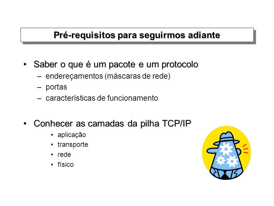 Pré-requisitos para seguirmos adiante Saber o que é um pacote e um protocoloSaber o que é um pacote e um protocolo –endereçamentos (máscaras de rede)