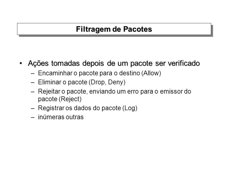 Filtragem de Pacotes Ações tomadas depois de um pacote ser verificadoAções tomadas depois de um pacote ser verificado –Encaminhar o pacote para o dest